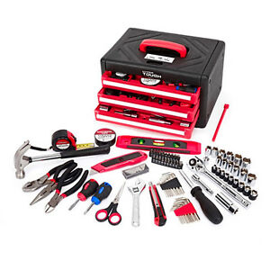 Box Tool Set Home Improvement 86 Pcs Free Shipping New Red 3 drawer Case
