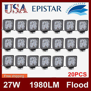 20pcs 27w Led Work Light Flood Lamp Boat Suv Offroad Truck Tractor 12v24v Square