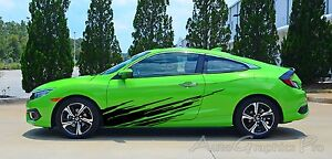 Ripped Lower Door Splash Rip Vinyl Graphics Kit Decals Stripes For Honda Civic