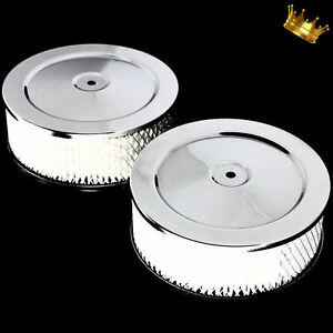 Dual 6 X 3 Inch Air Cleaners For Chevy Ford Mopar Pontiac Oldsmobile Chrome