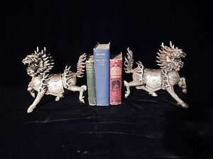 Antique Chinese Silvered Bronze Kylin Statue S Or Bookends