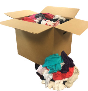 Box Of Colored T shirt Rags Low Lint Absorbs Very Well 50 Lb