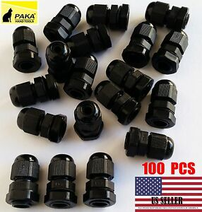 100 Pcs New Pg7 Black Plastic Waterproof Connector Gland 3 6 5mm Dia Cable