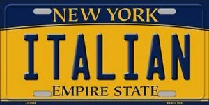 Italian New York State Background Metal Novelty License Plate