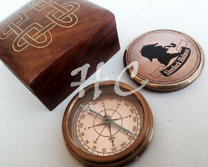 Antique Vintage Sherlock Holmes Compass Solid Brass With Decorative Needle