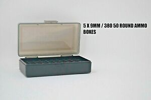 BERRY'S PLASTIC AMMO BOXES (5) SMOKE 50 Round 9MM  380 - FREE SHIPPING