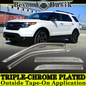 2011 2019 Ford Explorer 4pc Chrome Door Vent Visors Rain Guards Deflectors