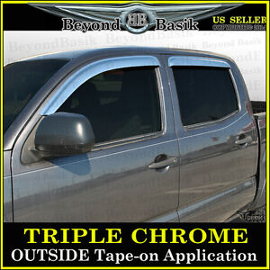 For 2005 2015 Toyota Tacoma 4dr Double Cab Chrome Door Vent Visors Rain Guards