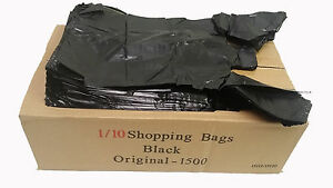 1500ct T shirt Black Plastic Bags Retail Grocery Store Shopping Carry Out Waste