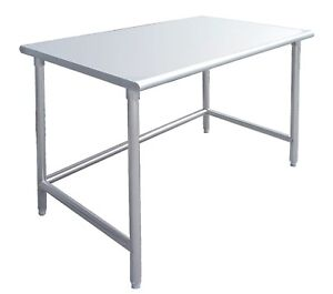 24 X 60 Stainless Steel Work Prep Table W Adjustable Crossbar