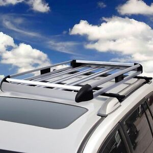Universal Aluminum Car Roof Cargo Carrier Luggage Basket Rack W Crossbars 53