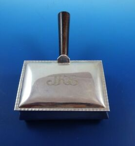 Silverplated Trinket Box With Wood Handle Silent Butler Bed Warmer Crumber H191