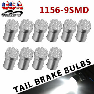 10x Pure White 1156 Ba15s 9 Smd Led Brake Backup Reverse Light Bulbs 6000k