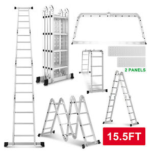 15 5ft Aluminum Multi Purpose Telescopic Ladder Extension Folding Garden Use