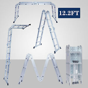 12 5ft Multi Purpose Folding Step Aluminum Ladder Telescopic W platform