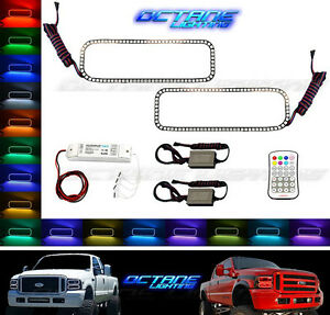 05 07 Ford F 250 Multi Color Changing Led Rgb Lower Headlight Halo Ring M7 Set