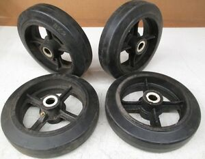 8 X 2 Solid Rubber On Cast Iron Wheel lot Of 4