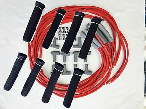 Moroso 8mm Spark Plug Wires Hi temp Suppression Straight Ends Hei W Protectors