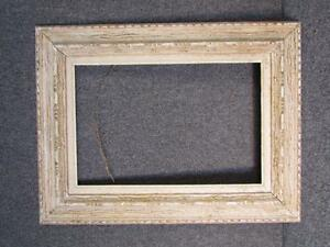 Antique 1950s Modern Painting Frame With Shabby Chic White Finish Fits 18x12
