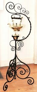 Tea Kettle Teapot Brass Wrought Iron Floor Stand C Dresser B