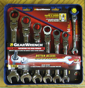 Gearwrench 7 Pc Metric Ratcheting Combination Flex Head Wrench Set 9900 10 12