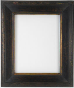 9 X 12 Black Gold Hand Burnished Gallery Picture Frame Closed Corners