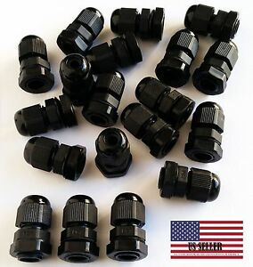 350 Pcs New Pg7 Black Plastic Waterproof Connector Gland 3 6 5mm Dia Cable