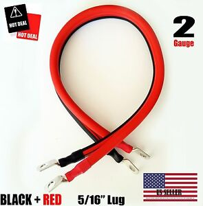 2 Awg Gauge 5 16 Lug Battery Cable Inverter Cables Solar Rv Car Golf