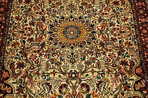 C1930s Antique Highly Detailed Kork Woolhigh Kpsi Prsian Bijar Rug 3 5x5