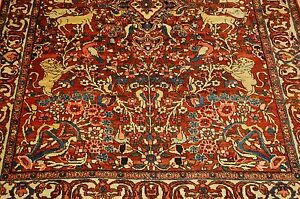 C1910s Antique Detailed Animal Subjects Prsian Bijar Rug 4 4x6 7 High Kpsi