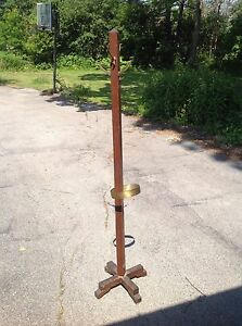 Antique Vintage Mission Style Coat Rack Hall Tree With Umbrella Holder