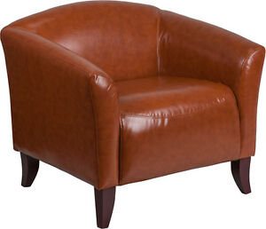Imperial Series Cognac Leather Reception Area Side Chair Guest Lounge Chair