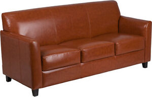 Diplomat Series Cognac Leathersoft Sofa Reception Guest Lounge Furniture