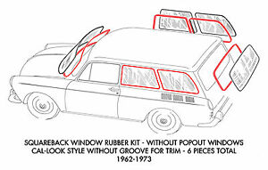 New Vw Type 3 Squareback Cal look Style 6 piece Window Rubber Kit 196