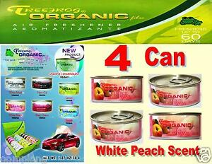 4 Can Treefrog Organic Air Freshener For Car Home Auto Office White Peach Scent