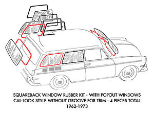 New Vw Type 3 Squareback Cal look Style 4 piece Window Rubber Kit 1962 1973