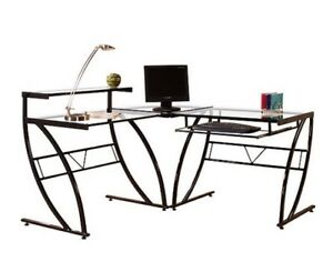 L shaped Glass Black Computer Desk