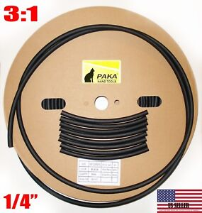 100 Feet 1 4 6 4 Mm Dual Wall Black Heat Shrink Tubing 3 1 Glue Lined Tube
