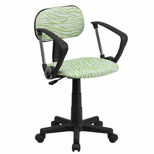 Flash Furniture Green And White Zebra Print Swivel Task Chair Bt z gn a gg