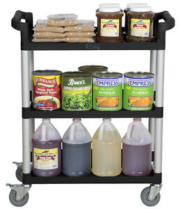 32 X 16 X 38 Black Plastic 3 Shelf Restaurant Utility Commercial Bus Tub Cart