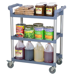 32 X 16 X 38 Gray Plastic 3 Shelf Restaurant Utility Commercial Bus Dish Cart