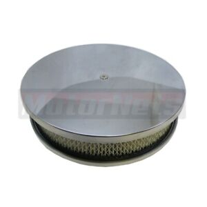 10 X 2 Round Aluminum Air Cleaner Plain Smooth Paper Element Chevy Ford Mopar