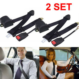 2pc 3point Safety Travel Adjustable Retractable Auto Car Seat Belt Lap Universal