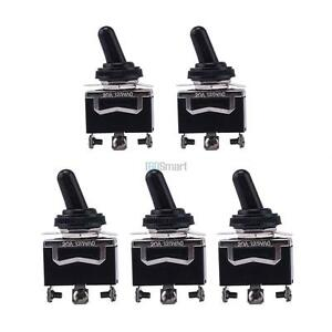 5x 20a 125v Heavy Duty Spdt 3 Term On Off On Toggle Switch W Waterproof Boot
