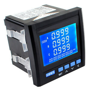 3 phase Multifunction Digital Volt Power Meter Energy Accumulation Rs485 Black