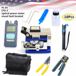 18pcs Fiber Optic Ftth Tool Kit Fc 6s Fiber Cleaver Power Meter Finder Plier bag