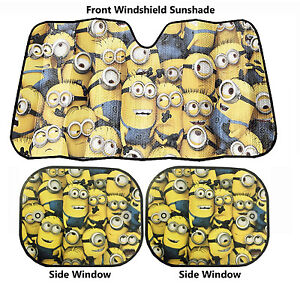 Despicable Me Minion Crowded Front Windshield 2 Side Window Sunshade 3pc Set