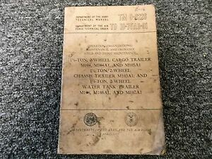1955 War Dept M104 M104a1 M105a1 Cargo Trailer Owner Service Repair Manual