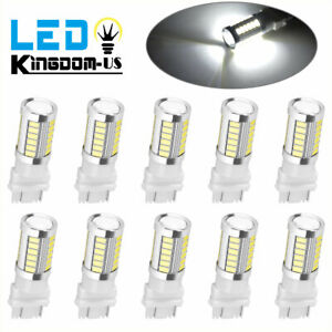 10x Pure White 3157 3156 5630 33 Smd Rv Camper Led Tail Brake Stop Light Bulbs