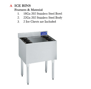 Stainless Steel Under Bar Ice Bin Without Ice Plate 32 3 4 H